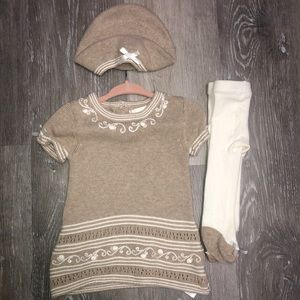 Savannah baby girl dress with hat and stockings